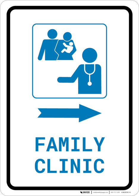 Family Clinic Right Arrow with Icon Portrait v2 - Wall Sign