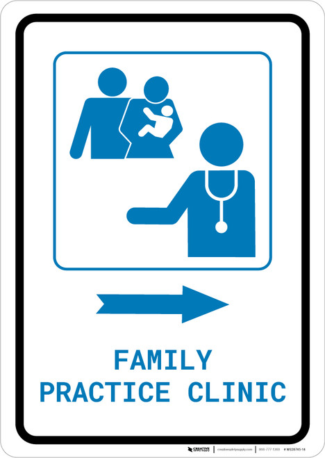 Family Practice Clinic Right Arrow with Icon Portrait v2 - Wall Sign