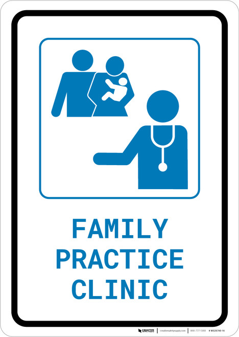 Family Practice Clinic with Icon Portrait v2 - Wall Sign