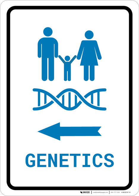 Genetics Left Arrow with Icon Portrait v2 - Wall Sign