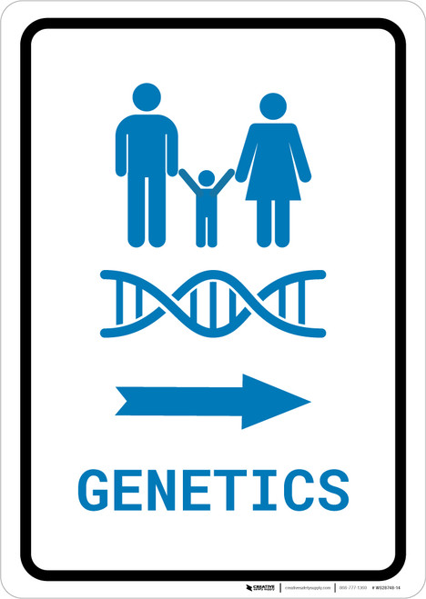 Genetics Right Arrow with Icon Portrait v2 - Wall Sign