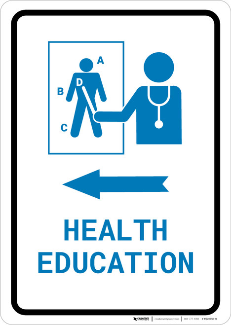 Health Education Left Arrow with Icon Portrait v2 - Wall Sign