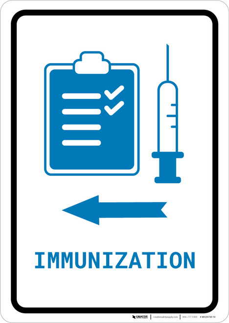 Immunization Left Arrow with Icon Portrait v2 - Wall Sign