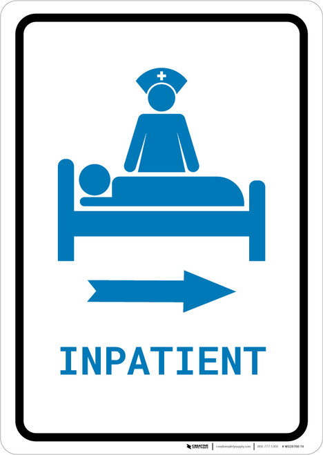 Inpatient Right Arrow with Icon Portrait v2 - Wall Sign