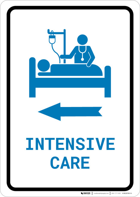 Intensive Care Left Arrow with Icon Portrait v2 - Wall Sign