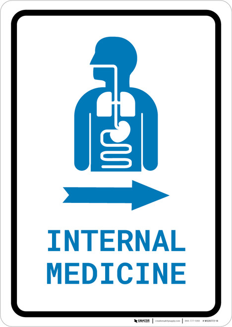 Internal Medicine Right Arrow with Icon Portrait v2 - Wall Sign