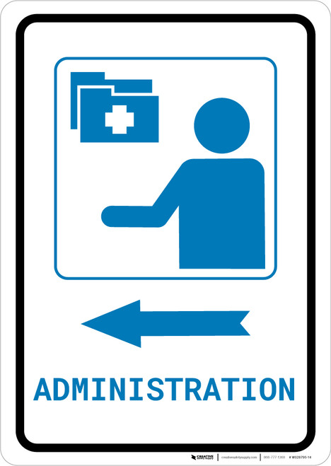 Medical Administration Left Arrow with Icon Portrait v2 - Wall Sign