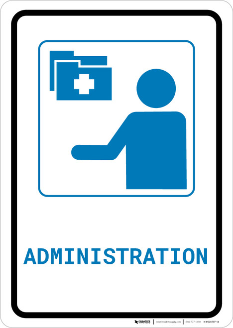 Medical Administration with Icon Portrait v2 - Wall Sign