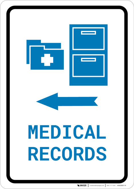 Medical Records Left Arrow with Icon Portrait v2 - Wall Sign
