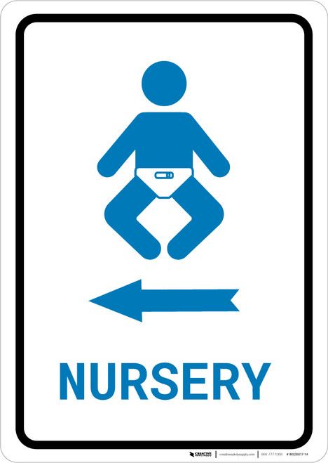 Nursery Left Arrow with Icon Portrait v2 - Wall Sign