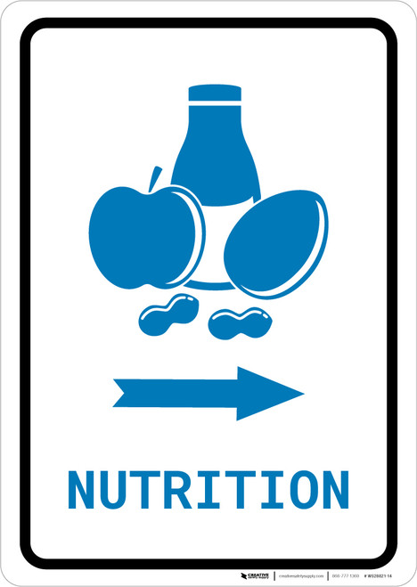 Nutrition Right Arrow with Icon Portrait v2 - Wall Sign