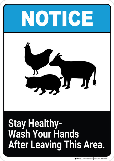 Notice: Stay Healthy Wash Your Hands After Leaving This Area - Wall Sign