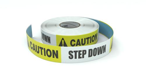 Caution: Step Down - Inline Printed Floor Marking Tape