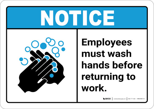 Notice: Employees Wash Hands ANSI Landscape - Wall Sign