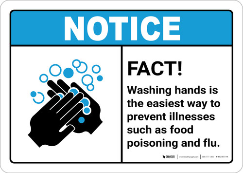 Notice: FACT Washing Hands Prevents Illness ANSI Landscape - Wall Sign