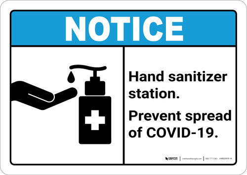 Notice: Hand Sanitizer Station Prevent COVID-19 ANSI Landscape - Wall Sign