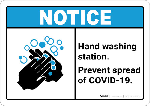 Notice: Hand Washing Station Prevent COVID-19 ANSI Landscape - Wall Sign
