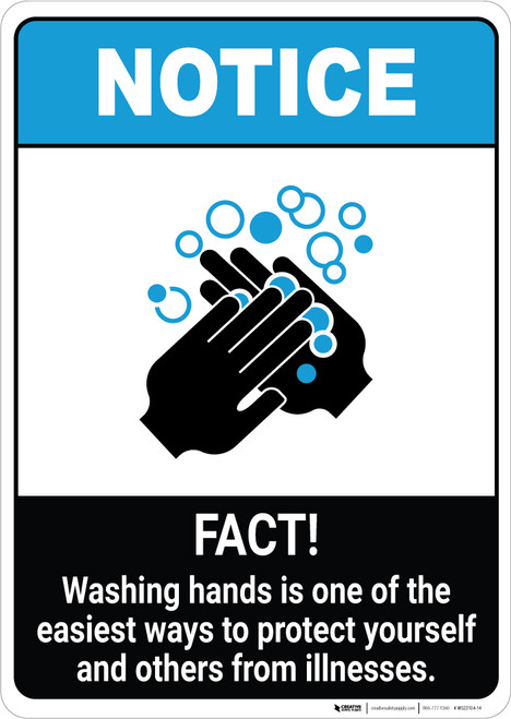 Notice: Hand Washing Protects from Illness ANSI Portrait - Wall Sign