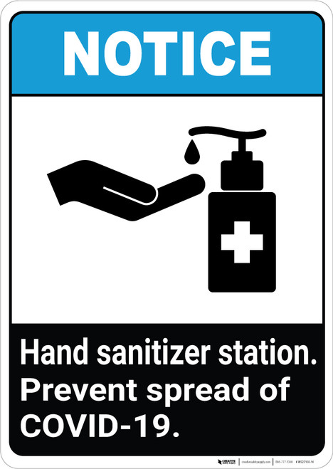 Notice: Hand Sanitizer Station Prevent COVID-19 ANSI Portrait - Wall Sign