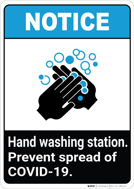 Notice: Hand Washing Station Prevent COVID-19 ANSI Portrait - Wall Sign
