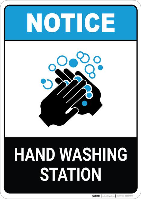 Notice: Hand Washing Station ANSI Portrait  - Wall Sign