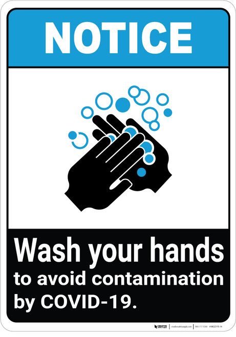 Notice: Wash Your Hands Avoid COVID-19 ANSI Portrait - Wall Sign