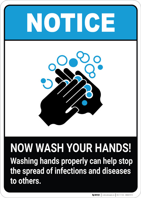 Notice: Washing Hands Properly Stop the Spread ANSI Portrait - Wall Sign