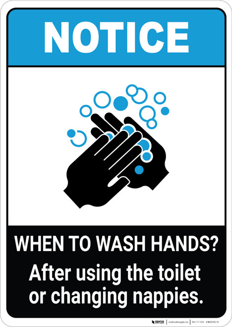 Notice: Wash Hands After Using Toilet ANSI Portrait - Wall Sign