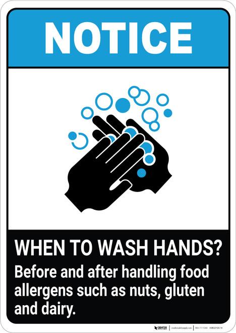 Notice: Wash Hands Before Handling Food Allergens ANSI Portrait - Wall Sign