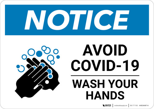 Notice: Avoid COVID-19 Wash Your Hands ANSI Landscape - Wall Sign