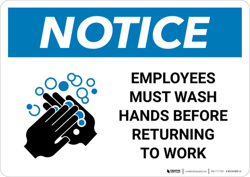 Notice: Employees Wash Hands Before Work ANSI Landscape  - Wall Sign