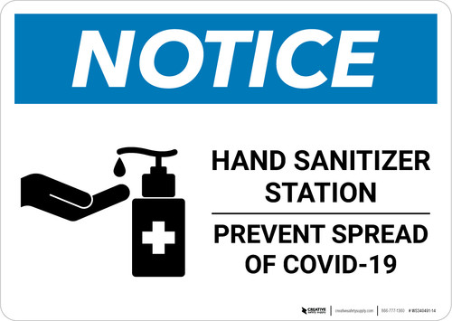 Notice: Hand Sanitizer Station COVID-19 ANSI Landscape  - Wall Sign