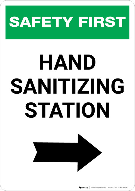 Safety First: Hand Sanitizing Station Right with Arrow Portrait  - Wall Sign