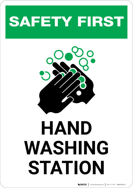Safety First: Hand Washing Station Portrait  - Wall Sign