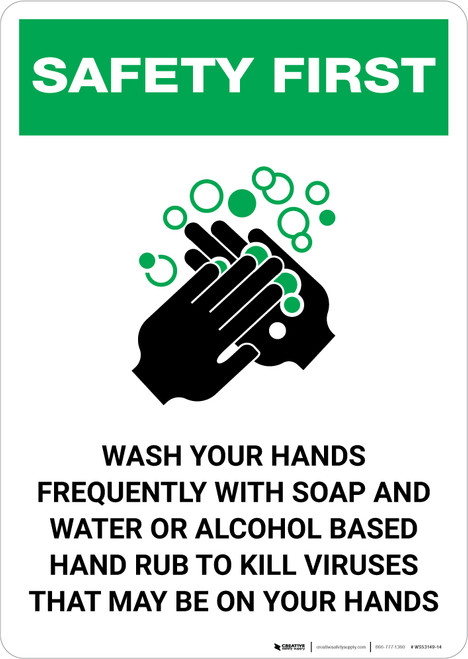 Safety First: Wash Hands Frequently Portrait  - Wall Sign
