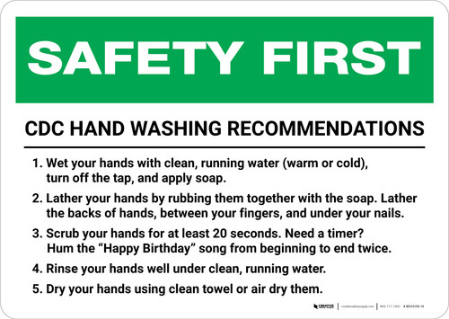 Safety First: CDC Hand Washing Recommendations Landscape - Wall Sign