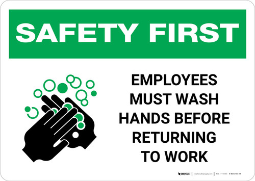 Safety First: Employees Must Wash Hands Landscape - Wall Sign