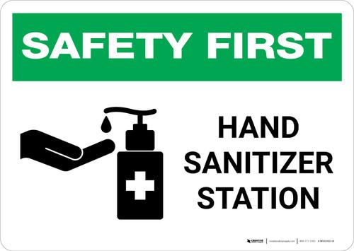 Safety First: Hand Sanitizer Station Landscape - Wall Sign
