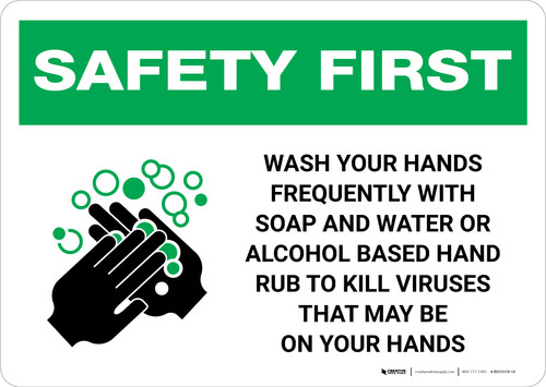 Safety First: Wash Hands Frequently Landscape - Wall Sign