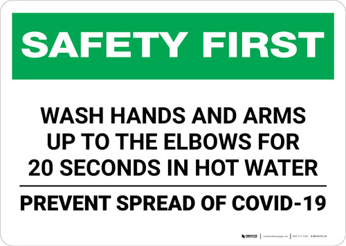 Safety First: Wash Hands Safety COVID-19 Landscape - Wall Sign