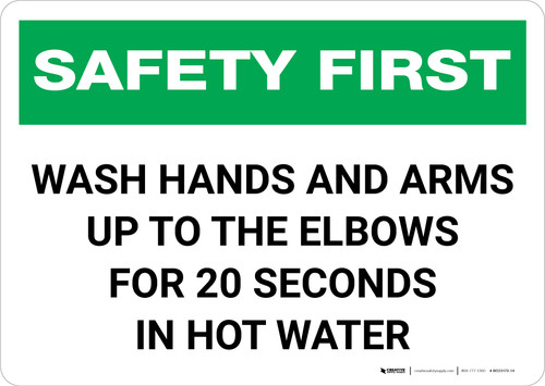 Safety First: Wash Hands Safety Landscape - Wall Sign