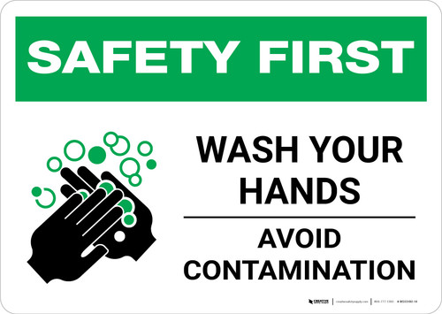 Safety First: Wash Your Hands Avoid Contamination Landscape - Wall Sign