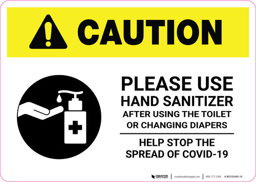 Caution: Please Use Hand Sanitizer - After Using Toilet with Icon Landscape - Wall Sign