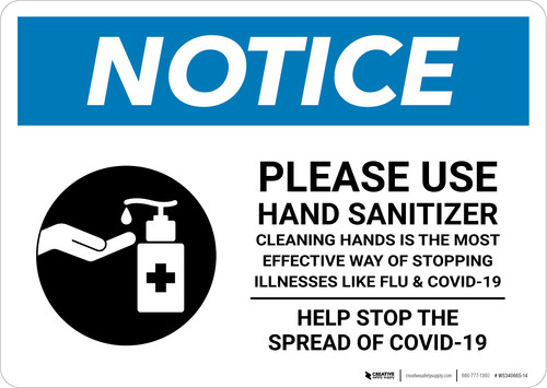 Notice: Please Use Hand Sanitizer Before Leaving - Help Stop the Spread of Covid-19 Landscape - Wall Sign