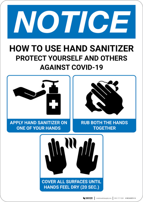 Notice: How To Use Hand Sanitizer Portrait - Wall Sign