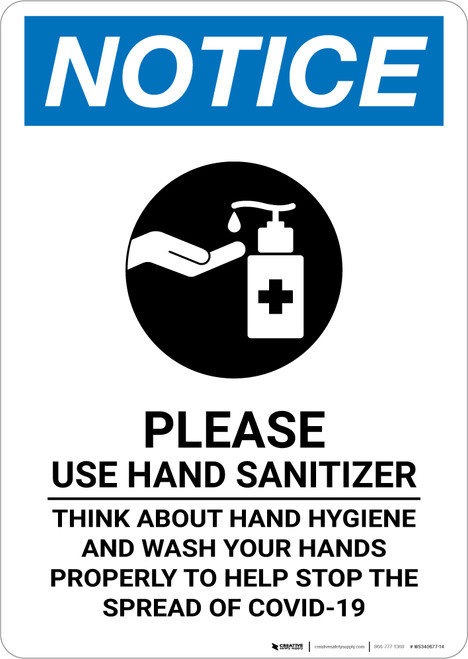 Notice: Please Use Hand Sanitizer Before Leaving Portrait - Wall Sign