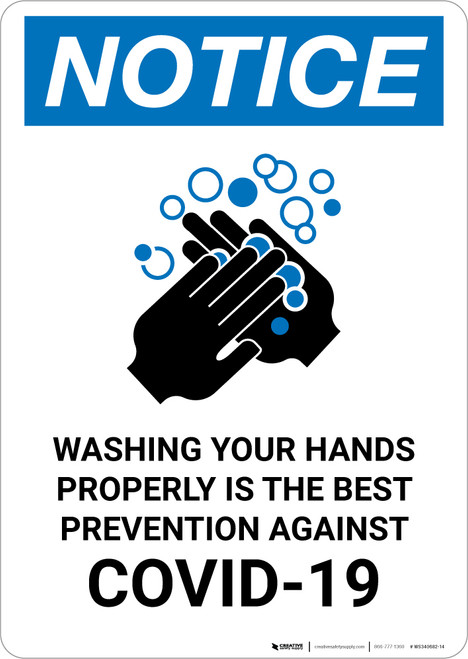 Notice: Washing Hands Is The Most Portrait - Wall Sign