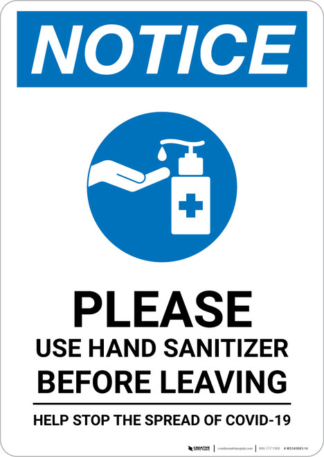 Notice: Washing Your Hands Properly Portrait - Wall Sign