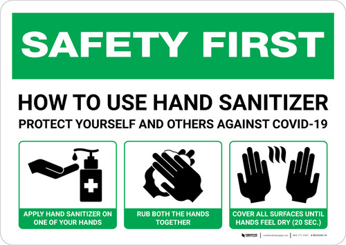 Safety First: How To Use Hand Sanitizer Landscape - Wall Sign
