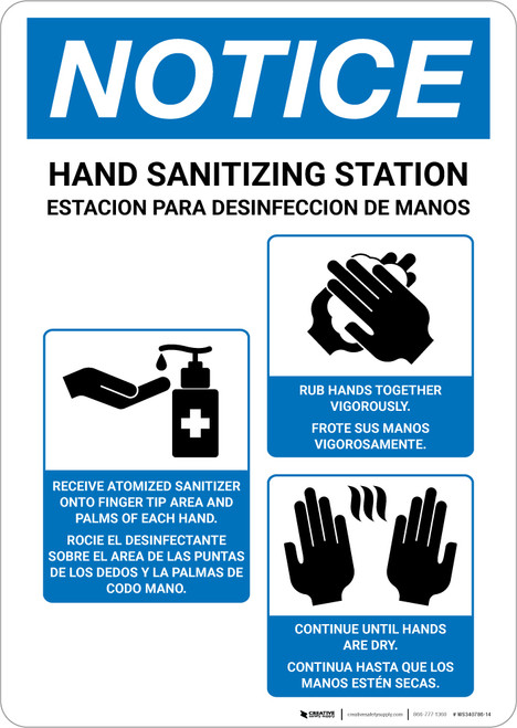 Notice: Bilingual Hand Sanitizing Station with Icon Portrait - Wall Sign